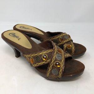 candie's pepperr gem embellished heels sz 8.5B
